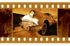 Oude 35mm frame foto met retro auto van de V.S. Royalty-vrije Stock Foto's