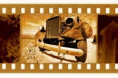 Oude 35mm frame foto met retro vrachtwagen Stock Afbeelding