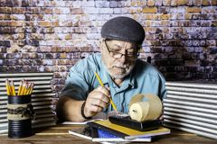 Oude Accountant With Adding Machine royalty-vrije stock foto