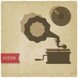 Oude achtergrond met grammofoon en verslag Stock Fotografie