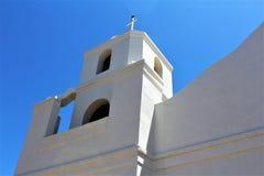 Oude Adobe-Opdracht, Onze Dame van Eeuwige Hulp Katholieke Kerk, Scottsdale, Arizona, Verenigde Staten stock afbeeldingen