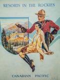 Oude affiche van de Canadese Stille Oceaan royalty-vrije stock foto