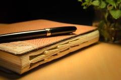 Oude agenda en pen stock afbeelding