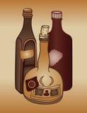 Oude alcoholflessen royalty-vrije illustratie