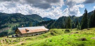 Oude alpiene hut met weide in de Alpen Beieren, Allgau, Duitsland Traditionele landbouw in de bergen stock afbeelding