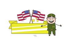 Oude Amerikaanse Legermens met de Vlaggen van de V.S. en Banner Vectorillustratie Stock Afbeelding