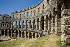 Oude amphitheatre in Pula Stock Foto's