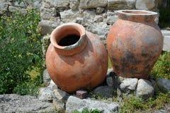 Oude Amphorae in Nesebar Stock Afbeeldingen