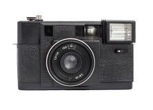 Oude analoge die afstandsmetercamera op film 35mm formaat op een witte achtergrond wordt geïsoleerd Stock Foto's