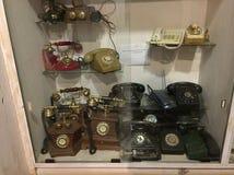 Oude antieke telefoonapparaten in een Mysore gebaseerd museum Stock Afbeelding