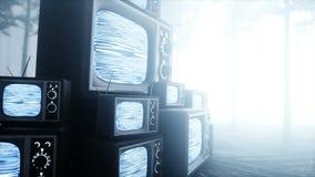 Oude antieke TV in de de bosvrees en verschrikking van de mistnacht Misticconcept uitzendings Realistische 4k animatie stock video