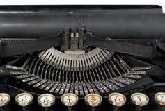 Oude antieke uitstekende draagbare schrijfmachine, close-up van mechani Stock Fotografie
