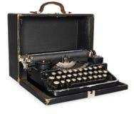 Oude, antieke, uitstekende, draagbare schrijfmachine in open leerca Stock Afbeeldingen