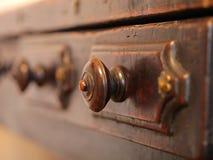 Oude archief houten laden stock afbeelding