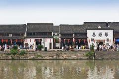 Oude architecturale complexen van het Hangzhou de grote kanaal stock foto