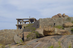 Oude architectuur de stad van Hampi in India Stock Foto's