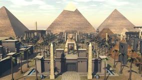 Oude architectuur in een stad van Egypte het 3d teruggeven Stock Afbeeldingen