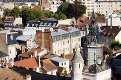 Oude architectuur van de stad van Dijon, mening van hierboven Royalty-vrije Stock Foto's