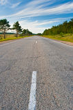 Oude asfaltweg royalty-vrije stock fotografie