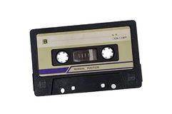 Oude audiocassette op witte achtergrond Stock Foto