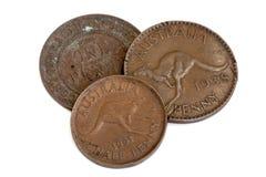 Oude Australische die Pence op Wit worden geïsoleerd Royalty-vrije Stock Foto's