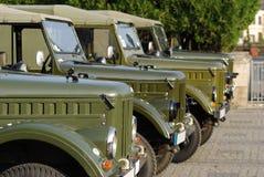 Oude Auto's, de Russische Vrachtwagens van het Leger Stock Afbeelding