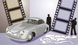Oude auto van grijze kleur royalty-vrije illustratie