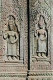 Oude Aziatische steen gesneden cijfers in angkor wat tempel Kambodja Royalty-vrije Stock Foto