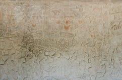 Oude Aziatische steen gesneden cijfers in angkor wat tempel Kambodja Royalty-vrije Stock Afbeeldingen