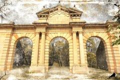 Oude baksteen de bouwvoorgevel Stock Fotografie