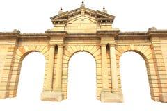 Oude baksteen geïsoleerde de bouwvoorgevel Royalty-vrije Stock Afbeeldingen