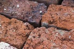 Oude baksteen, textuurmacro stock foto