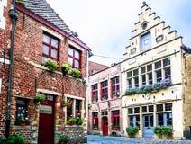 Oude baksteenbuidlings in het historische centrum van Gent royalty-vrije stock afbeelding