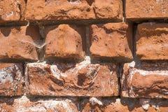 Oude bakstenen muur die doorstane textuur tonen royalty-vrije stock afbeeldingen