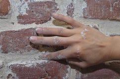 Oude bakstenen muur die 2 herstellen Stock Afbeeldingen