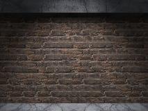 Oude Bakstenen muur en Concrete Vloerzaal met Vleklicht Stock Foto's