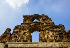 Oude bakstenen muur in Hampi, India Stock Foto