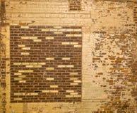 Oude bakstenen muur met dicht omhoog interessant grungepatroon Royalty-vrije Stock Afbeeldingen