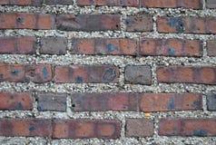 Oude bakstenen muur met kiezelsteenmortier Royalty-vrije Stock Afbeelding