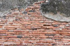 Oude Bakstenen muur van Tempel in Ayutthaya-Provincie Stock Foto