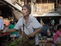 Oude Balinese vrouw, Bali stock foto