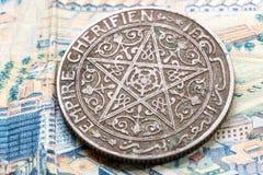 Oude bankbiljetten van het Koninkrijk van Marokko Stock Afbeelding