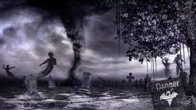 Oude begraafplaats en dansende spoken royalty-vrije illustratie