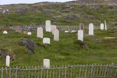 Oude begraafplaats met houten omheiningen Royalty-vrije Stock Foto's