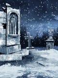 Oude begraafplaats met sneeuw royalty-vrije illustratie