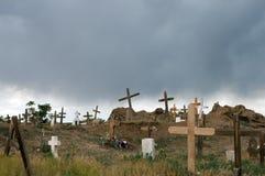 Oude begraafplaats in onweer Stock Afbeeldingen