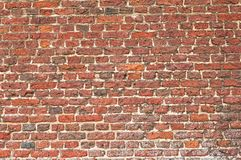 Oude Beschadigde Bakstenen muur, achtergrond Royalty-vrije Stock Foto