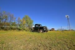Oude bestelwagen sleft in een weiland met uitgebreide spuitbusbomen Stock Afbeeldingen