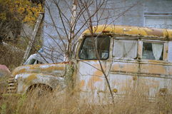 Oude bestelwagen in werf Stock Afbeelding