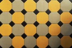 Oude betegelde vloer hexagon Textuur Achtergrond stock foto's